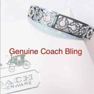 Coach Op Art Crystal Silver Bangle Bracelet NWOT